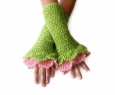 Crochet Fingerless Gloves  Green Pink Elegant by Iovelycrochet, $29.00 #teamwwes #crochet #handmade