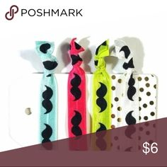 Set of 4 Neon Pink Yellow Blue Mustache Hair Ties PRICES ARE FIRM UNLESS BUNDLED.   This is a set of 4 foldover elastic hair ties that are heat sealed on the ends to prevent fraying. For patterned hair ties, the pattern is only on one side (the reverse side is usually white unless the pattern is gold foil). These are handmade by me, Posh Pony, and come with the card as shown and make great party favors or bridesmaids' gifts. Accessories Hair Accessories