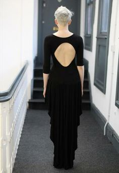 Vintage 90's Black punk grunge cut out maxi dress with tail from Pretty Disturbia £15