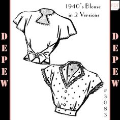 blouse sewing pattern This is a digital print-at-home pattern for a ladies blouse in two versions. Version A (at top) has a key-hole shaped cut-out neck opening and wrap ties at t Sewing Shirts, Sewing Clothes, 1940s Clothes, Diy Clothes, Patron Vintage, Motif Vintage, Pattern Drafting, Blouse Sewing Pattern, Ladies Shirt Pattern