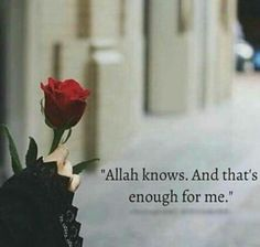 It is enough that Allah knows! Muslim Love Quotes, Love In Islam, Beautiful Islamic Quotes, Allah Love, Beautiful Love Quotes, Islamic Inspirational Quotes, Religious Quotes, Islamic Qoutes, Islamic Dua