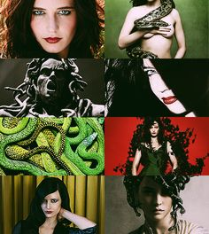 Greek Mythology Dreamcast - Eva Green as Medusa 'Tis the tempestuous loveliness of terror; for from the serpents gleams a brazen glare kindled by that inextricable error, which makes a thrilling vapour of the air become a and ever-shifting mirror of all the beauty and the terror there—awoman's countenance, with serpent-locks, gazing in death on Heaven from those wet rocks. (x)