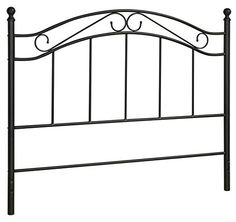 Black Bed Headboard- Fits Full or Queen Bed Frames Queen Black This Mainstays Metal Headboard lends itself to a traditional . Wrought Iron Bed Frames, Wrought Iron Headboard, Black Headboard, Queen Size Headboard, Black Bedding, Queen Bedding, Modern Bedding, Black Bedroom Furniture, My Furniture