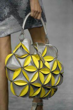 This design is from my award-winning grade art project! Lie Sang Bong F/W 2008 Tote Handbags, Purses And Handbags, Leather Handbags, Unique Handbags, Unique Purses, Origami Bag, Mellow Yellow, Grey Yellow, Fabric Manipulation