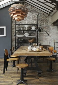 glass ceiling, art lighting, retro modern dining