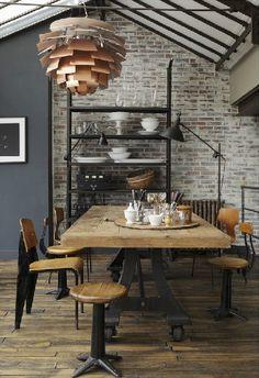 glass ceiling, art lighting, retro modern dining