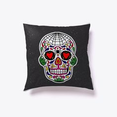 Halloween Sugar Skull Pillow White #Halloween #Pillows #pillow #Halloween2017 #Halloween2018 #Cushions #Spider #Webs #Skeletons #Pumpkin #Witch #Scary #items #Trick #Treat #HalloweenGift #TeespringPillows #Home #Decor Collection  #Humor #HalloweenGift #NewPillow #HalloweenNight #Halloween Home #Accessories #Bed #fashion #luxury #decorations #Horror #Artistic #Trending #Sleeping #pillow2017 #Pillow2018 #HalloweenCostumes #ChristmasGift2017 #Spooky #Gift #Idea #HomeDecor #HomeDecoration…