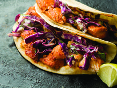 Guajillo-Chile fish tacos with cabbage slaw from Homesick Texan Cookbook. These are the best homemade fish tacos I've had so far!