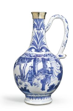 A silver-mounted blue and white ewer, Ming dynasty, Chongzhen period
