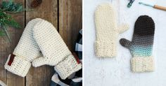 Free crochet patterns using the waistcoat stitch (center single crochet). These crochet mittens look knit. Learn how to dye any wool item with food coloring. Crochet Baby Mittens, Crochet Baby Blanket Beginner, Crochet Gloves, Free Crochet, Crochet Stitches Patterns, Knitting Stitches, Crochet Designs, Knitting Patterns, Crochet Waistcoat