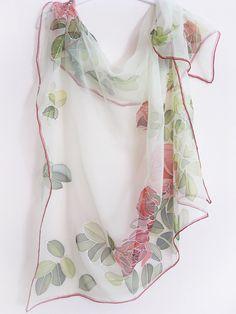 Hand painted Silk chiffon scarf Wedding accessories Red by DEsilk, $75.00