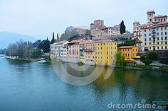 Colorful houses on the Brenta river in the old town of Bassano del Grappa, Veneto, Italy.