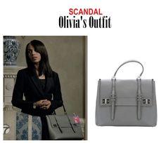 "On the blog: Olivia Pope's (Kerry Washington) gray double buckle satchel handbag | Scandal - ""The Testimony of Diego Munoz"" (Ep. 415) #tvstyle #tvfashion #gladiators #accessories #tgit"
