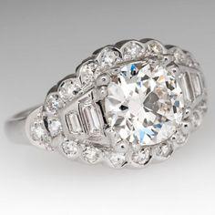 1.7 Carat Antique European Cut Diamond 1930's Platinum Engagement Ring