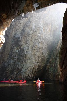 Looking out on kayakers from the inside of the Bats Cave, Storms River Mouth - Eastern Cape - South Africa. World Most Beautiful Place, Beautiful Places To Visit, Canoeing, Kayaking, Places To Travel, Places To See, Travel Around The World, Around The Worlds, African Vacation