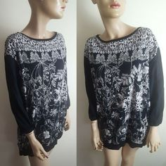 89f48ecb2ef9 👗Diesel Black Gold Size S 10 12 Black Floral Butterfly Tunic Top Slouchy  Long #