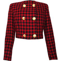 Pre-owned Versace Jeans Couture Vintage Hounds tooth Cropped Jacket ($365) ❤ liked on Polyvore featuring outerwear, jackets, abrigos, coats, red, vintage jackets, versace jacket, cropped jacket, red jacket and houndstooth jacket