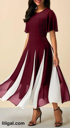 Round Neck Wine Red Short Sleeve Chiffon Dress   #liligal #dresses #womenswear #womensfashion
