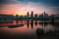 Portland at sunset.
