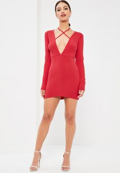 37ee8af080 Missguided - Red Tie Neck Plunge Long Sleeve Bodycon Dress Red Bodycon  Dress
