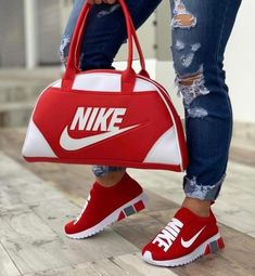 Shop Women's Nike Red size Various Athletic Shoes at a discounted price at Poshmark. Description: Nike shoes with matching duffle bag. Cute Sneakers, Cute Shoes, Me Too Shoes, Shoes Sneakers, Nike Sports, Sneakers Fashion, Fashion Shoes, Nike Fashion, Fashion Outfits