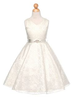 Ivory Lovely Lace V-Neck Flower Girl Dress (Available in Sizes 4-16 in 6 Colors)
