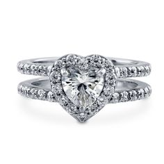 Heart Cut 1.76 Ct Diamond 023.1 White Gold Finish Diamond Engagement Ring #ForeverCarat #SolitairewithAccents #Engagement