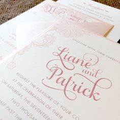 Light Pink and Salmon Rustic Lace and Swirl Fonts Wedding Invitations - Custom Invites from Happy Frog Invitations