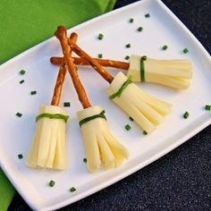 Adorable and healthy! Pretzel and Cheese Broom Sticks