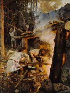 Akseli Gallen-Kallela, Forging of the Sampo, 1893, Oil on canvas, 200 x 152 cm, Finnish National Gallery, Helsinki