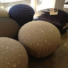 Limited edition hollywood Pouf with designer fashion fabrics from Gucci, Prada and Cavalli at Bonaldo in Leif Petersen. 220 Elm Building. LOVE the shape, texture and impact of patterns!