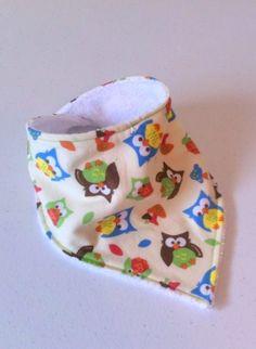 Owl Bandana Bib Owl Baby Bib Dribble bib adjustable by MaybeSix, $8.00