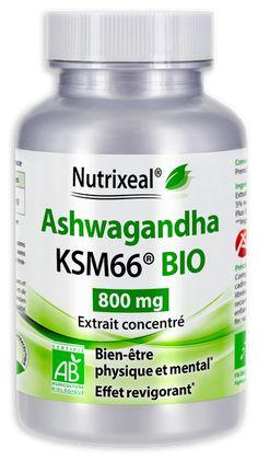 Ashwagandha BIO : extrait concentré > 5% de withanolides, 800mg / gélules. Complément alimentaire sans excipient, fabriqué en France.