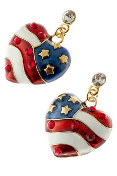 American Flag Heart Earrings - American flag heart shaped drop earrings in red, white and blue enamel, with gold plate stars and a diamond like crystal at top of drop. Price: $14.50 #American flag earrings, #patriotic earrings http://www.starsandstripesproducts.com/american-flag-heart-earrings/