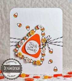 DeNami Candy Corn Button card #halloween