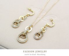 Free shipping Women Jewelry Sets 18k Gold Plated Chain Austrian Crystal Necklace+Earrings Set Bridal Jewelry Gift