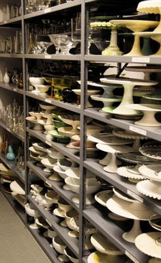 Martha Stewarts Prop Room (my kitchen is starting to look like a tiny bit like this since I love kitchenware and collecting cake stands!)