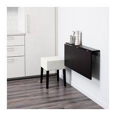 BJURSTA / NILS Table and 1 stool, brown-black, Blekinge white Blekinge white black 90 cm