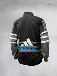 cd78dcd6c9ab Vintage 90s Adidas Trefoil tracksuit top Jacket Big logo Spell out Color  Block Black White Gray Blue Size L