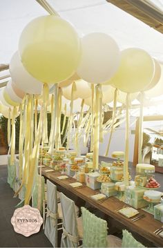What a cute outdoor canopy idea. Streamers and balloons. festive colors flowing above. Adorable for a rainbow party with white balloons. Balloon Centerpieces, Balloon Decorations, Birthday Party Decorations, Wedding Centerpieces, Wedding Decorations, Yellow Party Decorations, Balloon Arrangements, Balloon Ideas, Centerpiece Ideas