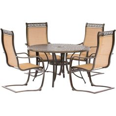 Hanover Manor 5-Piece Outdoor Dining Set with C-Spring Chairs and a Cast-top Dining Table , Patio Furniture