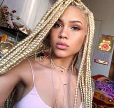Top 60 All the Rage Looks with Long Box Braids - Hairstyles Trends Afro Braids, Blonde Box Braids, Black Girl Braids, African Braids, Girls Braids, Twist Braids, Twists, Ombre Box Braids, Blonde Afro