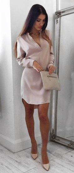 nude palettes outfit dress + bag + heels