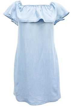 6456275bd6d3 Women ruffle Denim Tunic size S Off shoulder Blue Dress Cotton Ci Sono