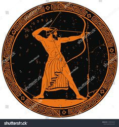 The hero of the ancient Greek myths Odysseus. Warrior with a weapon on the round black medallion. Archer with a bow in his hands. Ancient Greek Sculpture, Ancient Greek Art, Ancient Greece, Odysseus And The Sirens, Greece Tattoo, Greece Mythology, Archer Tattoo, Greek Warrior, Greek Pottery