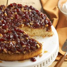 Berry-Walnut Upside-Down Cake From Better Homes and Gardens, ideas and improvement projects for your home and garden plus recipes and entertaining ideas.