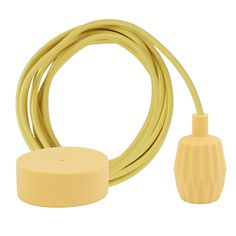 Yellow braided cable 3 m. w/pale yellow Plisse