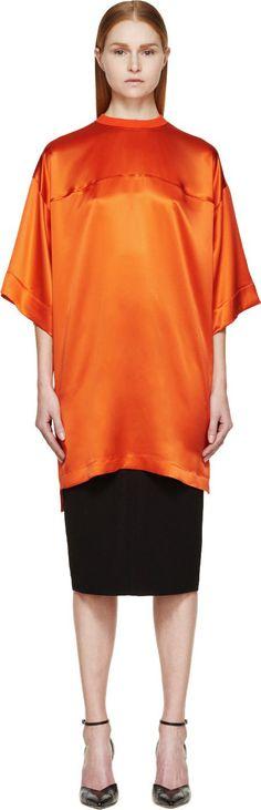 Givenchy Coral Satin Short Sleeve Jersey Tunic