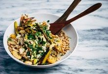 Farro with Roasted Leeks, Chick Peas, Celery and Currents - a guaranteed crowd pleaser. SO YUM!