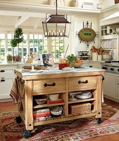 Pottery barn kitchen island 12 freestanding kitchen islands kitchens house and black cabinet Mobile Kitchen Island, Portable Kitchen Island, Rustic Kitchen Island, Kitchen Island With Seating, Kitchen Benches, Rustic Kitchen Decor, Shabby Chic Kitchen, Country Kitchen, Kitchen Islands